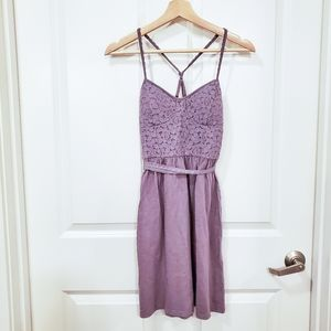 AEO Purple Floral Lace Smocked Mini Dress